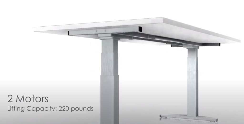 Two motors make the commercial grade height adjustable desk strong