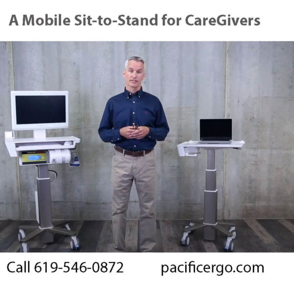 A mobile medical cart sit to stand for caregivers