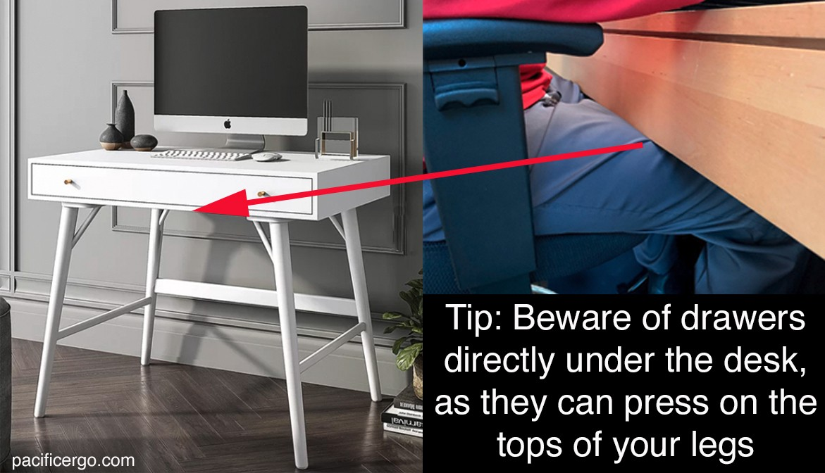A home office desk that is too low can place pressure on your legs and create problems