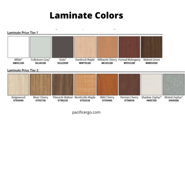 Laminate colors for the commercial grade height adjustable desk 24x36