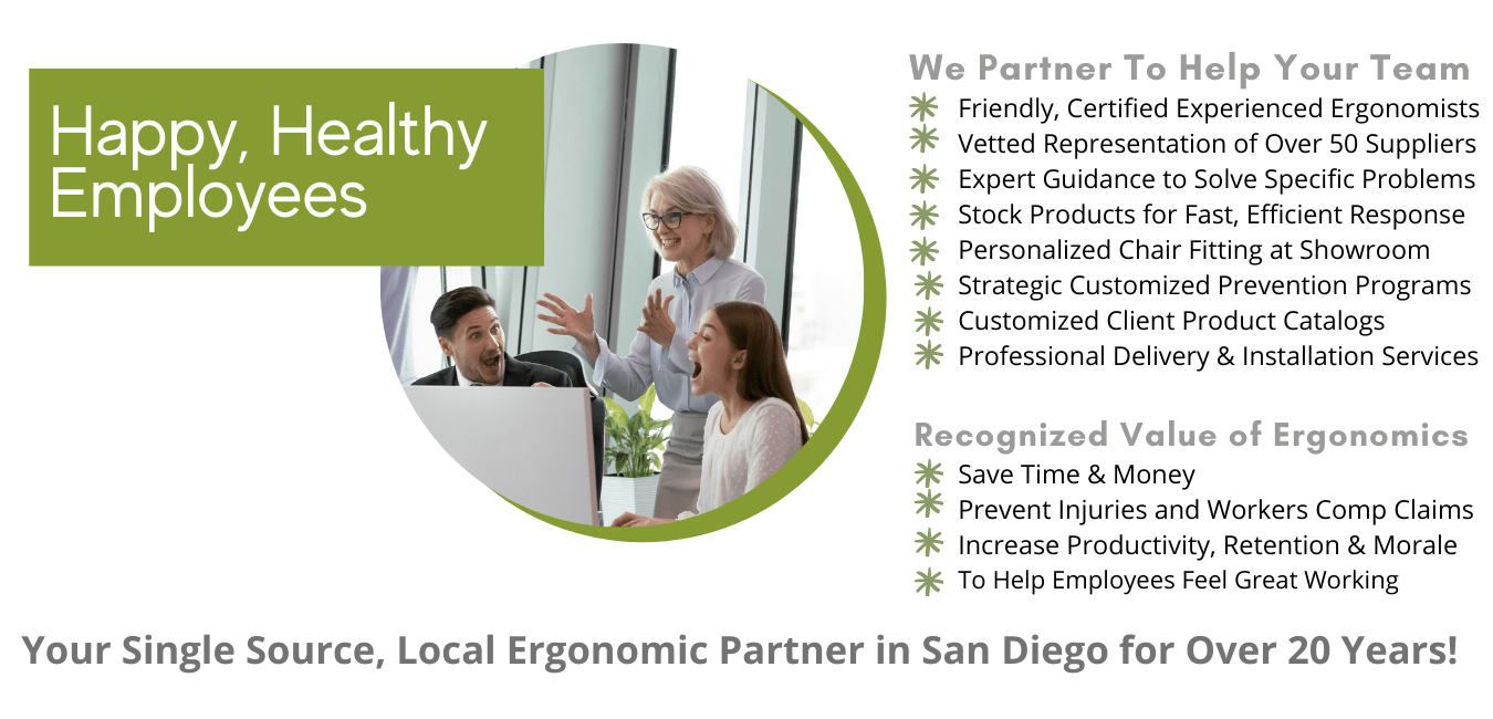 San Diego ergonomic products and nationwide ergonomic assessments and consulting