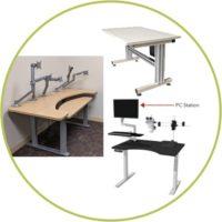 Height adjustable ergonomic tables