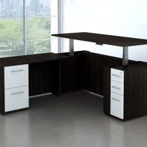 Executive sit stand desk with file drawers