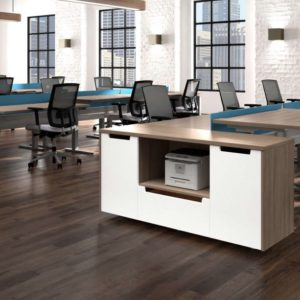 Extra storage options with San Diego benching solutions that are attractive and have full modesty panels