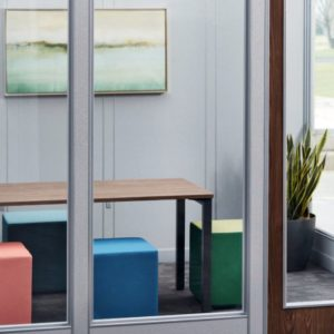 Huddle room modular glass walls in San Diego