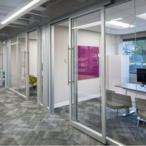 Private office spaces can be created with modular glass walls