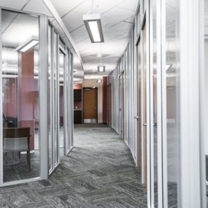 Double pane glass modular walls installation services in San Diego